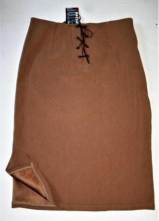 Стильная бежевая юбка миди на шнуровке