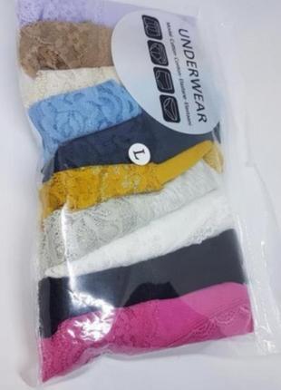 Набор женского нижнего белья трусики стринги хлопковые с кружевом разноцветные 10 штук