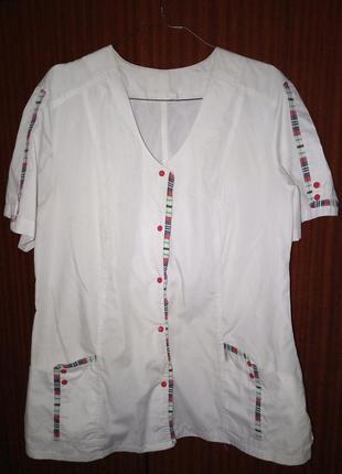 Спецодежда для докторов поваров maria рубашка на заклёпках с карманами белая 54 размер