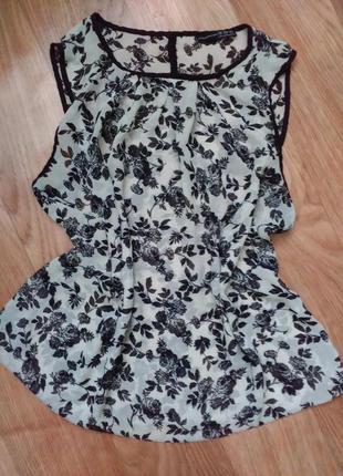 Блуза блузка шифон цветочный принт