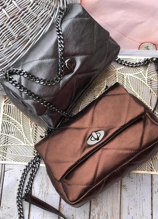 Стёганая кожаная сумка италия