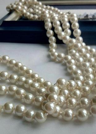 Ожерелье бусы жемчуг стекло 150 см