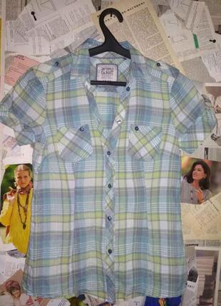 Рубашка блуза в клетку 100% котон тонкий