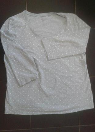 Кофта в белый горошек полуторный рукав