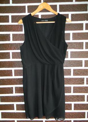 Черное шифоновое короткое платье на запах
