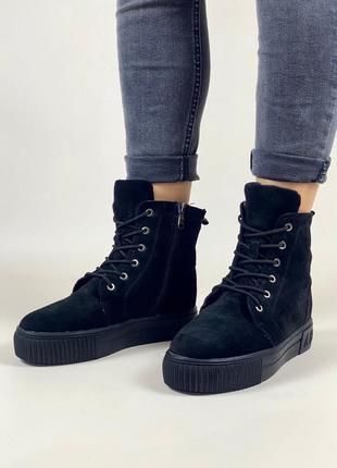 Ботинки на шнуровке натуральный замш высокие кеды