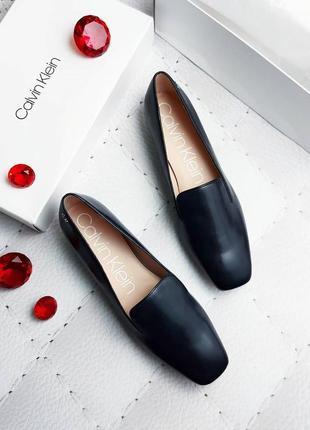 Calvin klein оригинал черные кожаные туфли лоферы