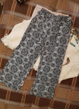 Красивые прямые новые штаны, принт орнамент