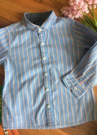 Модная рубашка в стильную полоску для парнишки next 1,5-2 года .