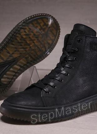 Зимние кожаные мужские кроссовки на меху philipp plein