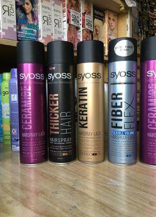 Лак для волос syoss ceramide complex 5 thicker hair 4 keratin 4 fiber flex 4 400 мл
