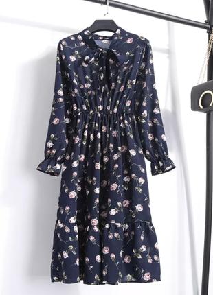 Темно синее шифоновое платье миди завышенная талия на резинке синя сукня
