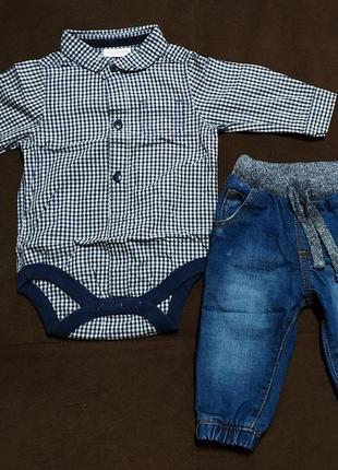 Рубашка-боди и джинсы на 1-3мес