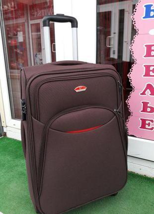 Тканевый чемодан супер качество 4 колеса! большой коричневый чемодан без предоплат!
