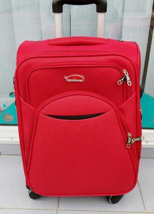Красный малый чемодан ручная кладь тканевый без предоплат
