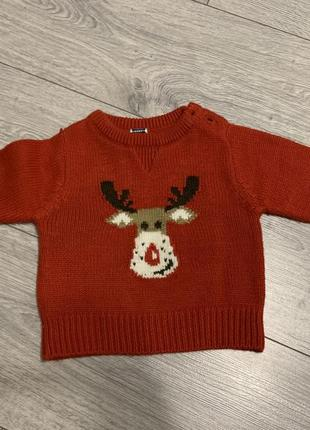 Детский новогодний свитер с оленем