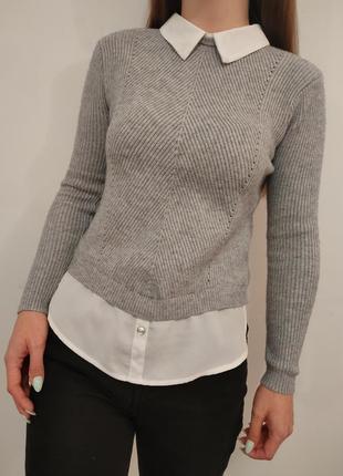 Шикарная кофта свитер с имитацией блузки