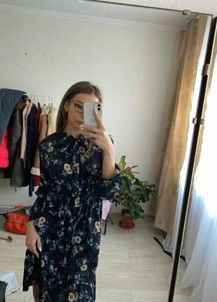 Летнее шифоновое платье midi цветы на резинке лето 20213 фото