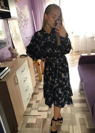 Летнее шифоновое платье midi цветы на резинке лето 20214 фото