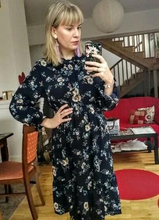 Летнее шифоновое платье midi цветы на резинке лето 20217 фото
