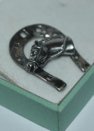 Мини кулон подвес подкова серебро 925 проба европа патина вес 4,8 грамм