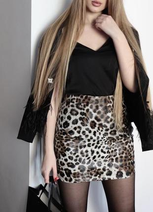 Кожаные юбки принт леопард