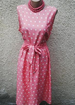 Легкое платье в горохи с открытой спиной(без подкладки),большой размер,dorothy perkins