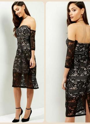 Шикарное кружевное платье миди с открытыми плечами