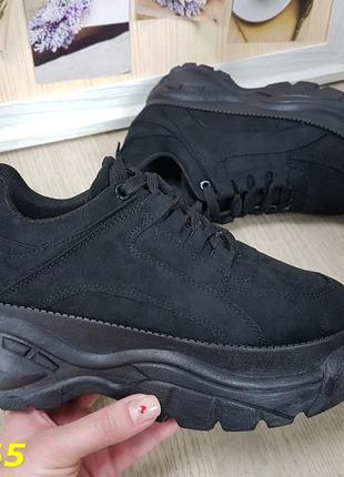 Кроссовки замшевые черные на высокой платформе буффало распродажа