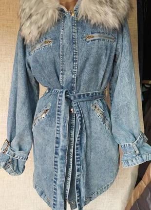 Пальто джинсовое на меху