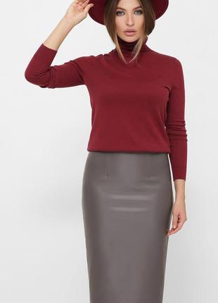 Стильная кожаная юбка-карандаш на осень-зиму