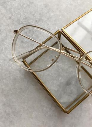 Новые женские имиджевые очки в пластмассово-металлической оправе, прозрачные