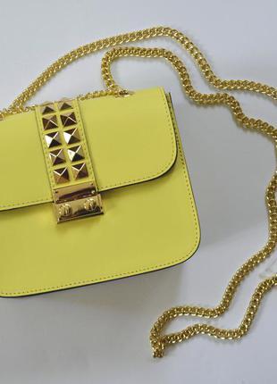 2b5dc9044fa Желтая итальянская кожаная сумка в стиле валентино, borse in pelle ...