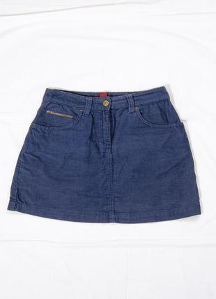 Синяя юбка трапеция, вельветовая юбка короткая, теплая юбка демисезонная