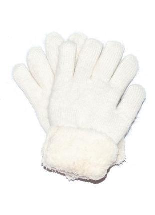 Теплые вязаные перчатки из шерстяной пряжи с меховыми манжетами without