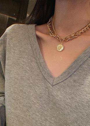 Двойная цепочка с кулоном ожерелье колье 3010