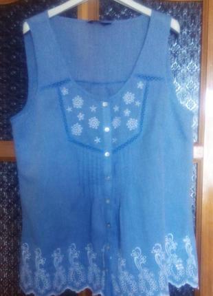 Летняя легкая блузка из хлопка без рукавовf&f