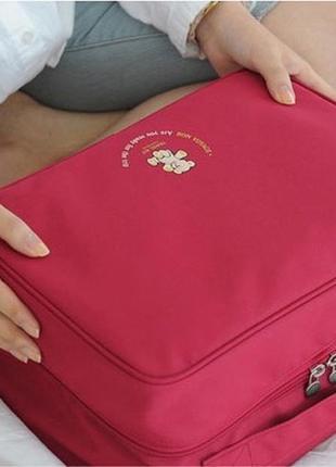 Дорожная сумка органайзер для путешествий с ручкой на чемодан бордовая