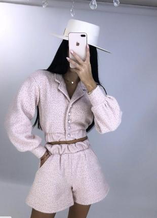 Костюм твид букле шорты пиджак кофта жемчуг бусины