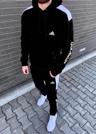 Спортивный костюм adidas ( адидас) черный нa флисе. спортивний костюм adidas