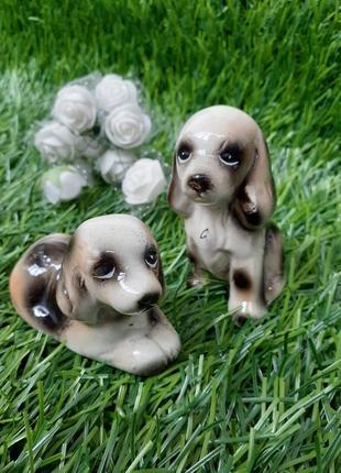 Статуэтки собачки щенки фигурки собаки гдр фарфоровые покрыты эмалью