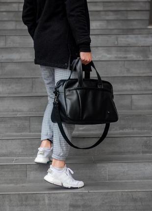 Мужская дорожная спортивная сумка с экокожи дополнительный ремень