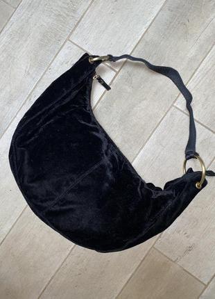Бархатная чёрная сумка,хобо,банан
