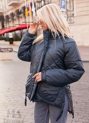 Теплая дутая куртка зефирка с удлинённой спинкой