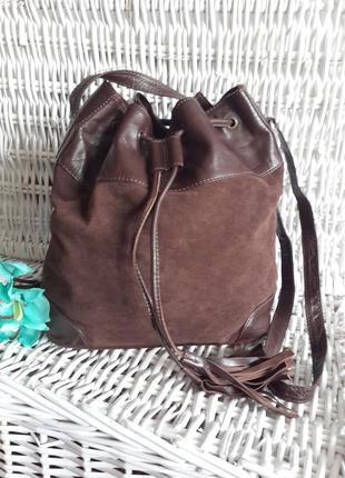 Jones, натуральная замша! крутая сумка на длинном ремне, стягивается шнурками с кисточками