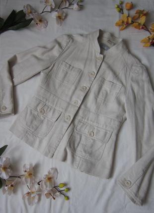 Бежевий піджак з льону