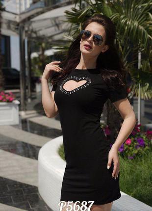 Черное платье с сердечком