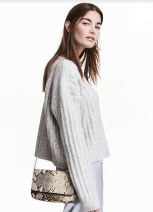 Шерстяной свитер серый джемпер в косу