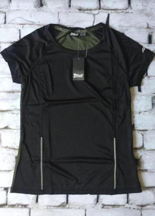 Черная хаки футболка для спорта, спортивный топ