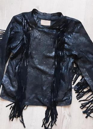 Куртка косуха с бахромой,натуральная кожа